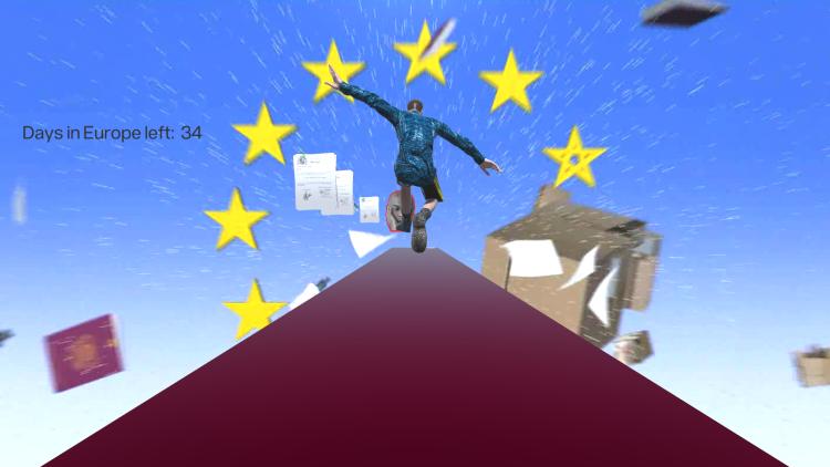 Le jeu vidéo «Road to Schengen», deSalim Bayri, 2016.