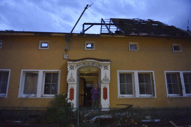 The house that flew off the roof in the village of Moravskaya Nova Ves in the Czech Republic after the hurricane struck on June 24, 2021.