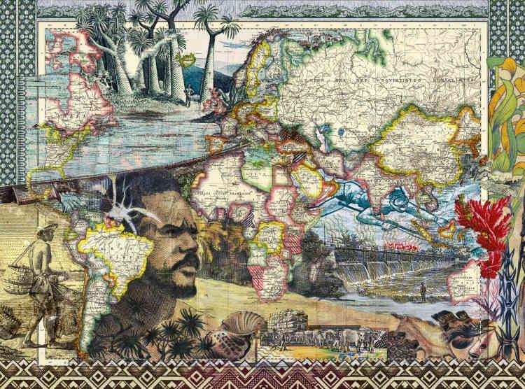 « Figures 1937, lignes télégraphiques et sous-marines», de Malala Andrialavidrazana, 2015.