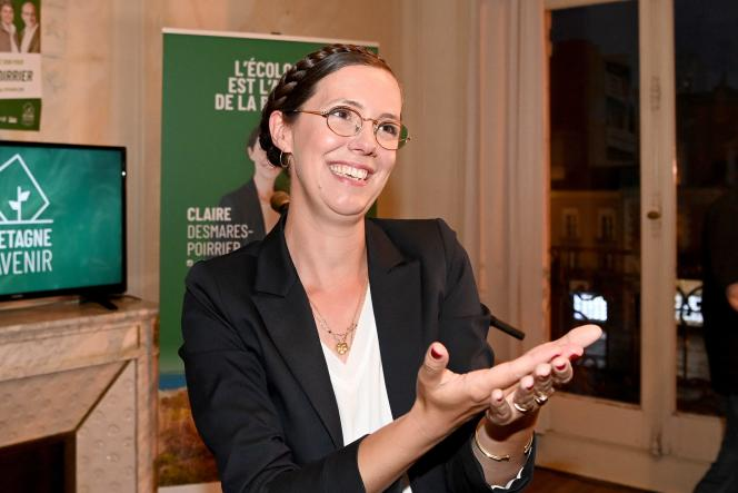 Claire Desmares-Poirrier, la candidate à la présidence de la région de la liste Bretagne d'Avenir pour les élections régionales 2021, à Rennes, le 20 juin.