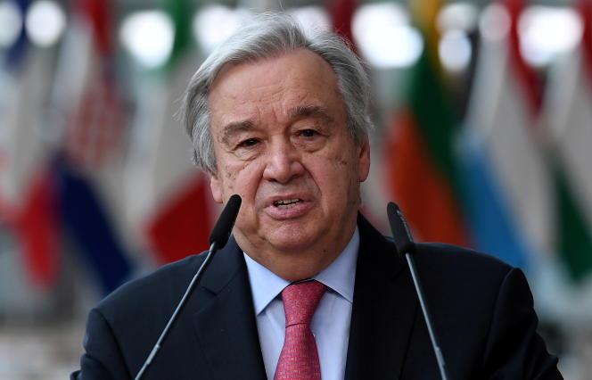 Le secrétaire général de l'ONU,Antonio Guterres, à son arrivée au Conseil européen, à Bruxelles, le 24 juin 2021.
