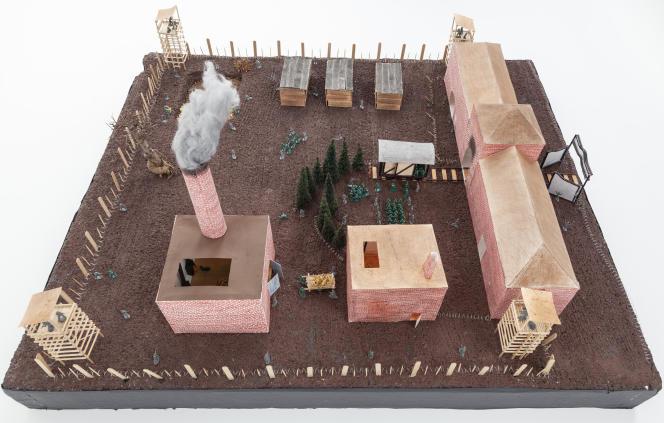 Maquette du camp d'Auschwitz, réalisée par des élèves de 3e du collège de Pavilly (Seine-Maritime) en 2015-2016.