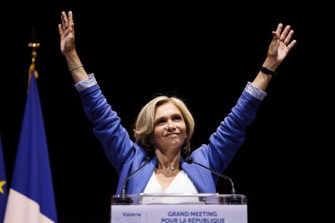 L'actuelle présidente et candidate de la région Ile-de-France Valérie Pécresse, lors du meeting auCirque d'Hiver à Paris le 24 juin 2021.