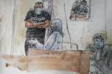 Croquis d'audience montrant Abdallah El-Hamahmy debout lors de son procès au Palais de justice de Paris,le 21juin2021.