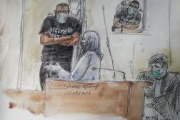 Dessin du procès d'Abdallah El-Hamahmy à Paris le 21 juin 2021.