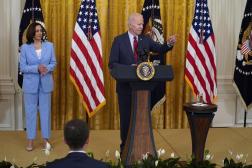 Le président Joe Biden détaille, à la Maison Blanche, l'avancée des négociations sur un plan d'infrastructures, le 24 juin 2021.