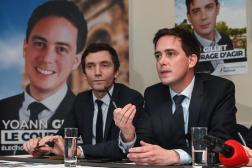 Yoann Gillet (à droite), candidat aux élections départementales à Nîmes pour le Rassemblement national (RN), à Nîmes, en février2020.