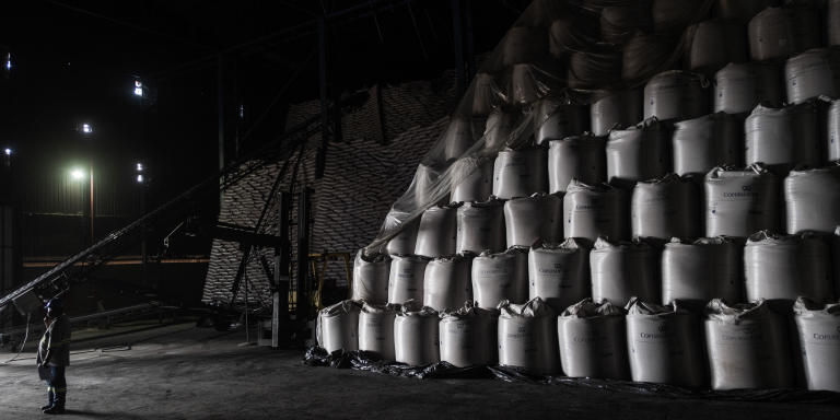 PITANGUEIRAS, BRAZIL - JUNE 02, 2021: A storage of refined sugar packs ready for distribution inside the Viralcool sugar factory of Santa Cecilia near the municipality of Pitangueiras, Sao Paulo state. The factory produces sugar, ethanol and ferments for the agricoltural sector and belongs to the Toniello Group that owns the Viralcool, a leader company in the sugar market in Brazil.
