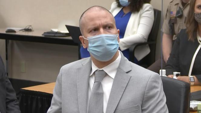 L'ancien policier Derek Chauvin, coupable du meurtre de George Floyd, le 25 juin 2021 au tribunal de Minneapolis.