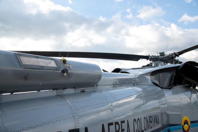L'impact des tirs sur l'hélicoptère du présidentIvan Duque à Cucuta, en Colombie, vendredi 26 juin 2021.