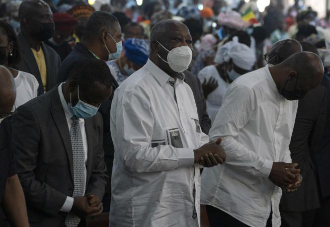 L'ancien président ivoirien Laurent Gbagbo, lors d'une messe à la cathédrale Saint-Paul d'Abidjan, le 20 juin 2021.