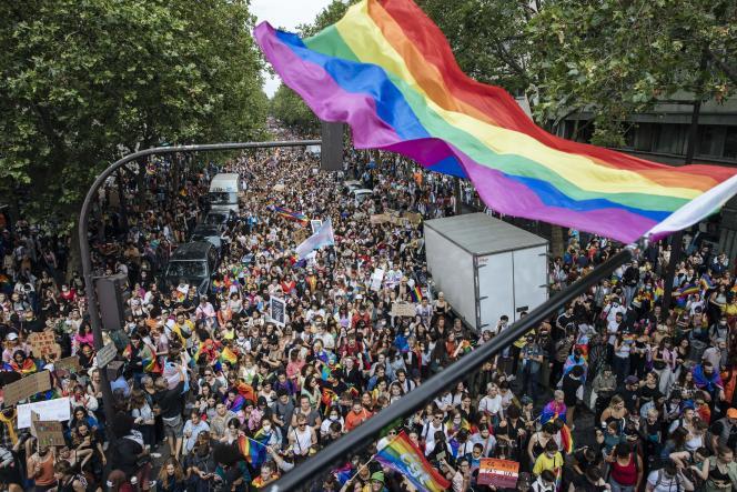 Plusieurs milliers de personnes ont défilé à l'occasion de la Marche des fiertés, à Paris, le 26 juin 2021.