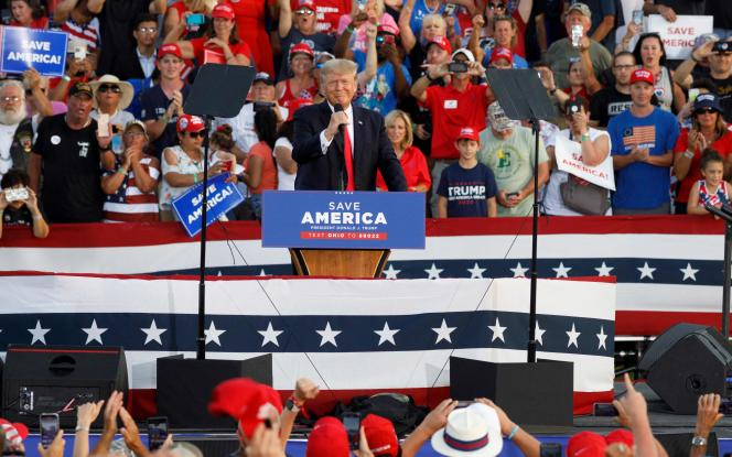 Donald Trump on stage during a campaign meeting on June 26, 2021 in Wellington, Ohio.