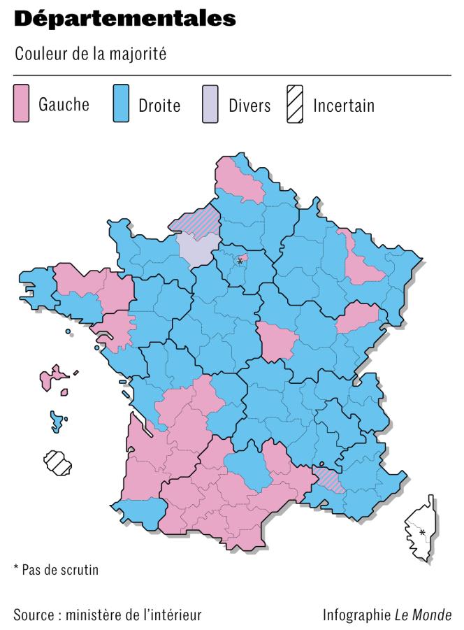 Résultats du deuxième tour des élections départementales 2021.