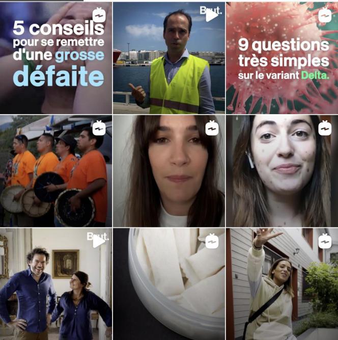 Capture d'écran de lapage d'accueil Instagram de Brut, suivie par 2 millions d'abonnés.