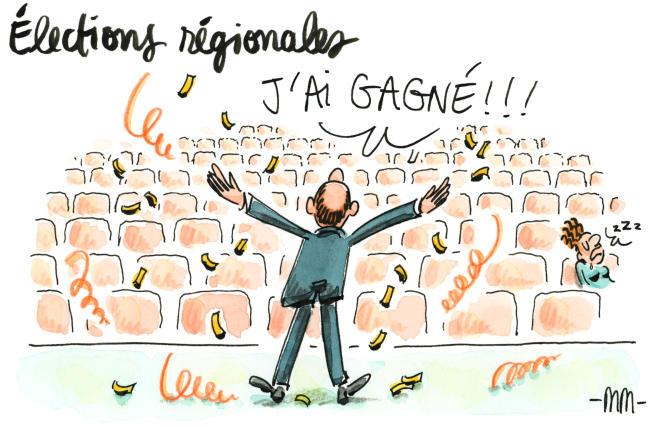 Dessin paru en « une » du « Monde » le 29 juin signé par la dessinatrice française Marie Morelle.