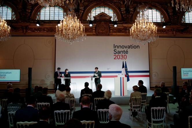 Emmanuel Macron lors Conseil stratégique des industries de santé, à l'Elysée, le 29 juin 2021.