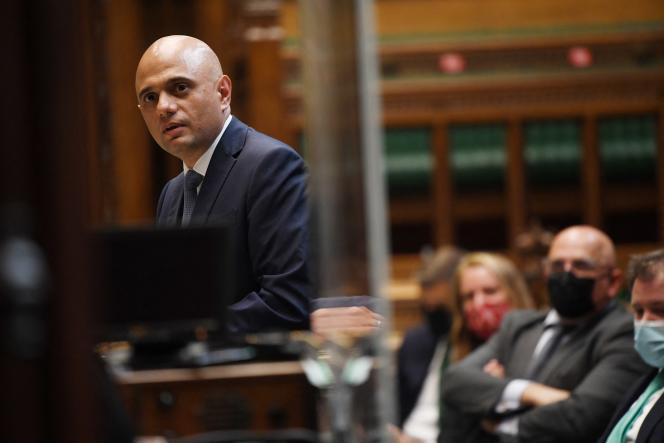 British Health Secretary Sajid Javid gives an update on Covid-19 in the House of Commons, London, on June 28, 2021.