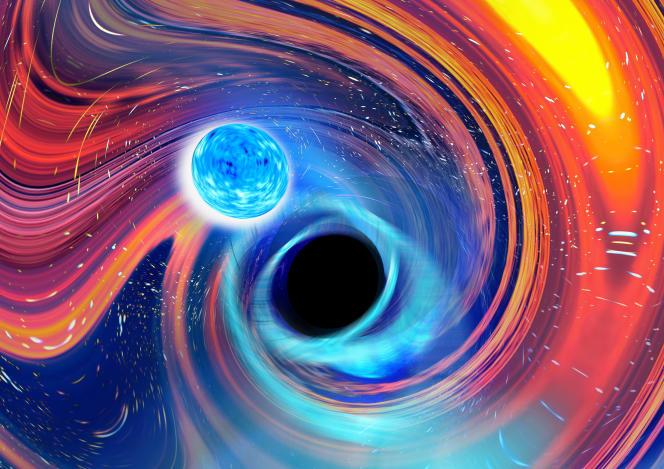 Künstlerische Darstellung des Killerwirbels zwischen einem Neutronenstern (in Blau) und einem Schwarzen Loch (in Schwarz).