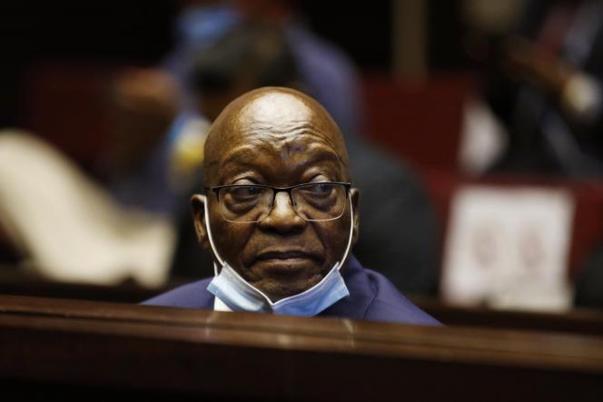 Jacob Zuma, le 26 mai 2021, devant la Haute Cour de Pietermaritzburg (Afrique du Sud).