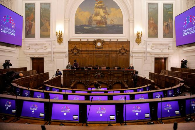 The 155 citizens elected to draft the new constitution will sit in the former parliament or another public building in the center of the capital, Santiago.