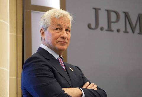 JP Morgan CEO Jamie Dimon looks on during the inauguration of the new French headquarters of US' JP Morgan bank on June 29, 2021 in Paris. American bank JP Morgan's new trading floor is the latest example of how Brexit is changing Europe's financial landscape since January. / AFP / POOL / Michel Euler
