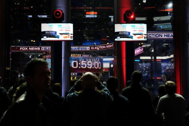 Au studio de Fox News, à New York, lors de l'élection américaine de novembre 2016.