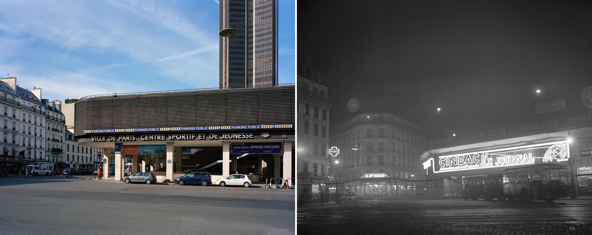 Les anciens cinémas Cinéac-Montparnasse (Paris14e), fermés en1966.