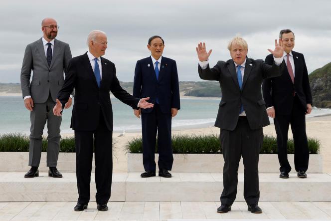 Charles Mitchell, Joe Biden, Yoshihide Suga, Boris Johnson and Mario Draghi at the G7 summit on June 11, 2021 in Corbys Bay, Cornwall.