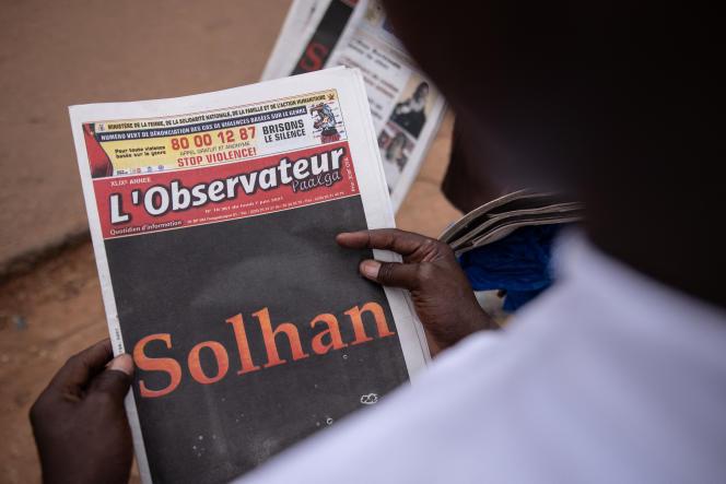 A Ouagadougou, le 7juin 2021, après l'attaque de Solhan ayant fait au moins 132morts.