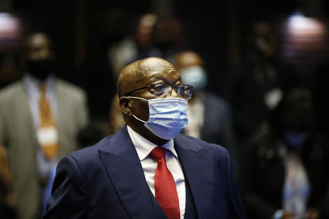 L'ancien président sud-africain Jacob Zuma à son procès pour corruption à la Haute Cour de Pietermaritzburg, le 26 mai 2021.