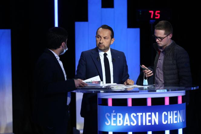 Le candidat RN Sébastien Chenu, lors du débat d'entre-deux-tours des élections régionales dans les Hauts-de-France, le 24 juin 2021.