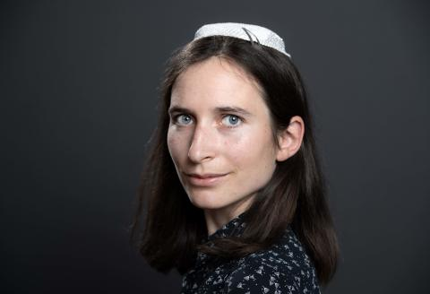 """(FILES) In this file photo taken on June 17, 2019 then Rabbi student Iris Ferreira poses during a photo session on the sidelines of the """"Women in Judaism"""" first world congress in Troyes. / AFP / BERTRAND GUAY"""