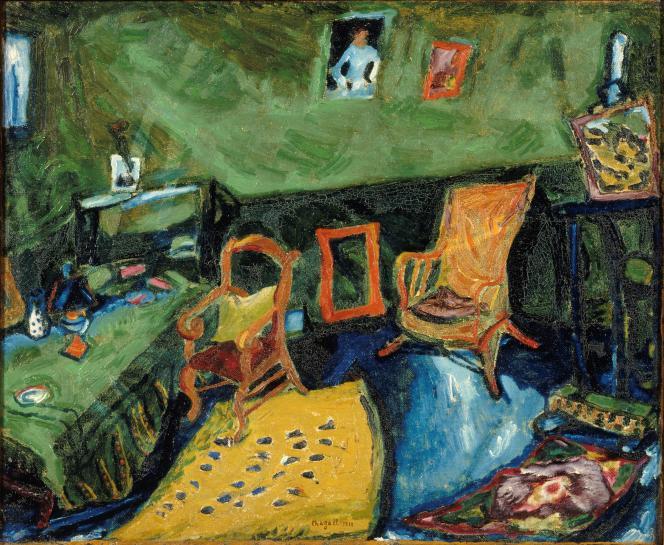 «L'Atelier»(1911), de Marc Chagall (huile sur toile).
