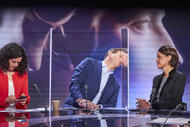 Manon Aubry, Yannick Jadot et Najat Vallaud Belkacem, plateaux télé France 2 , le soir du deuxième tour des élections Regionales 2021