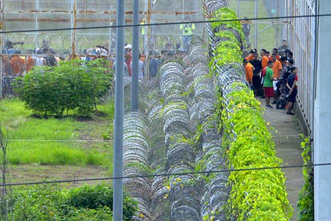 Des détenus à la prison de Guayaquil, en Equateur, le 25février2021.