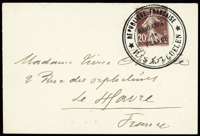 « Résidence de France» des Kerguelen de 1913, adressée à l'épouse d'Emile Bossière.