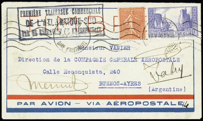 Lettre avec les signatures manuscrites autographes de Mermoz, Dabry et Gimié.