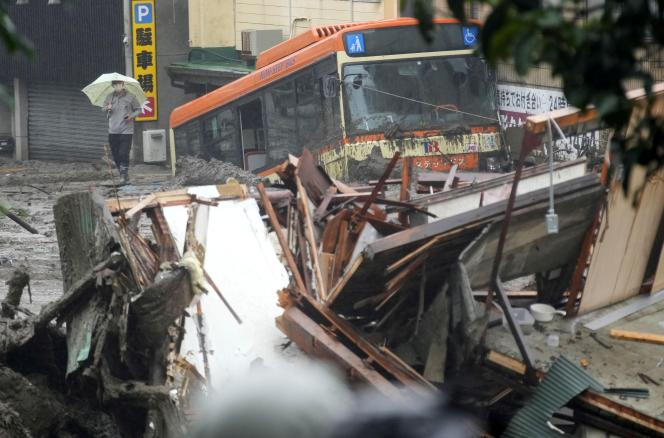 On Saturday, July 3, 2021, landslides in central Japan's Atami damaged buses and homes.