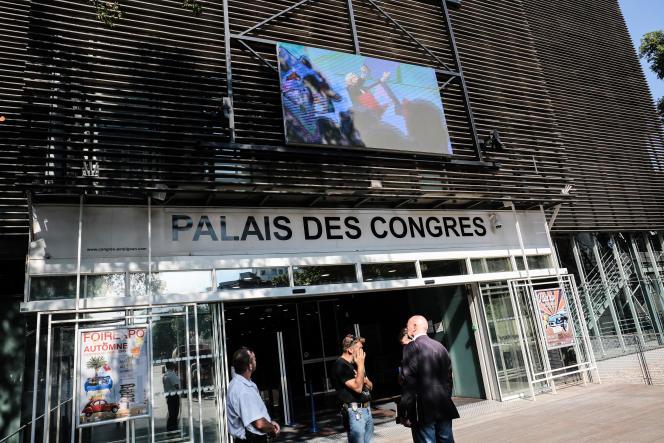 Le palais des congrès dePerpignan,la veille du congrès du Rassemblement national,le 2 juillet 2021.