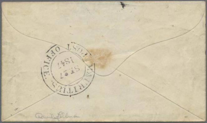 Verso de lalettre de l'île Maurice (1847) vendue8,1 millions d'euros... Tous les détails comptent!...
