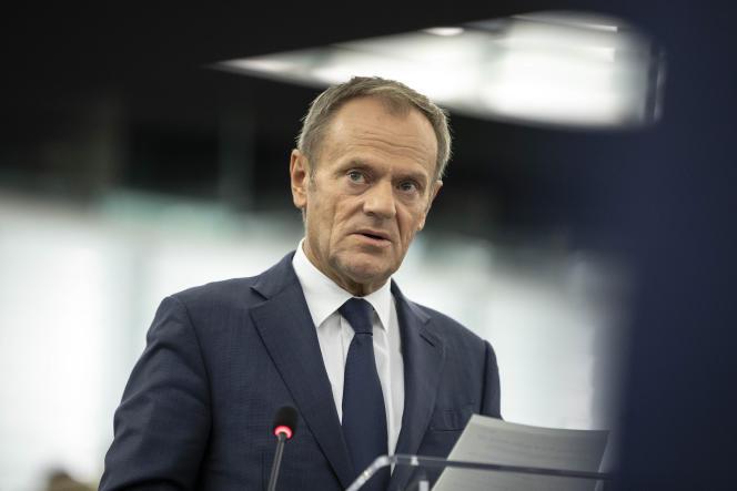 Donald Tusk lors d'un discours au Parlement européen de Strasbourg, le 22 octobre 2019.