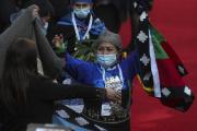 Elisa Loncon après son élection à la présidence de l'Assemblée constituante chilienne, à Santiago, le 4 juillet 2021.