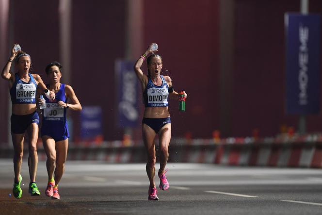 Arrivée du marathon féminin des Championnats du monde d'athlétisme de l'IAAF Doha 2019 à Doha, au Qatar, en septembre 2019.