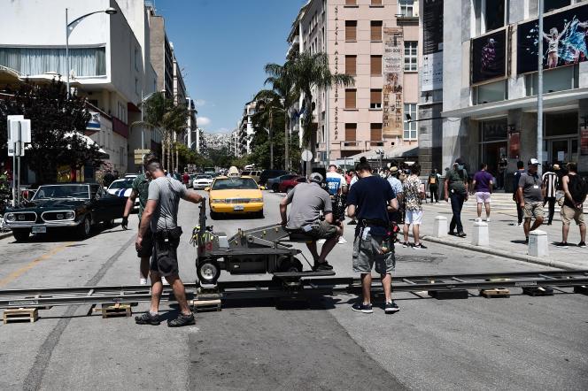 Sur le tournage du thriller «The Enforcer», deRichard Hughes,dans les rues de Thessalonique (Grèce), le 3 juillet 2021.