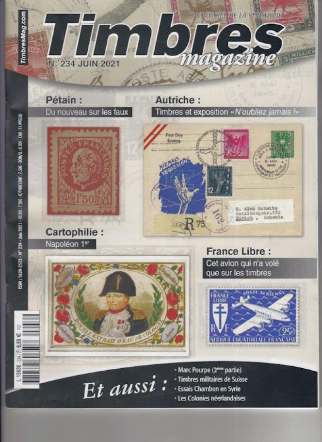 « Timbres magazine », juin 2021, n° 234, 100 pages, 6,50 euros. En vente en kiosque, ou par correspondance (2, rue de l'Etoile, CS 79013, 80094 Amiens Cedex 3. Tél. : 03-22-71-71-87.