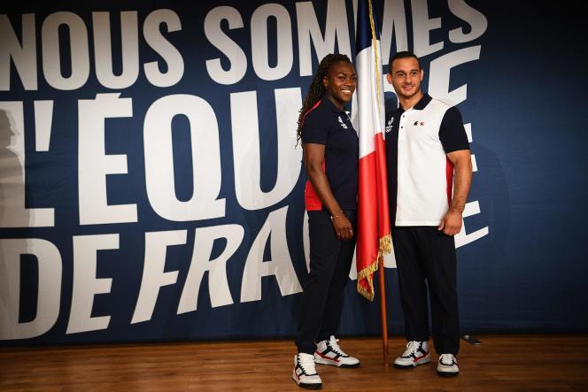 Clarisse Agbegnenou et Samir Aït Saïd porteront le drapeau français à l'entrée de la délégation tricolore dans le stade olympique de Tokyo, le 23 juillet.