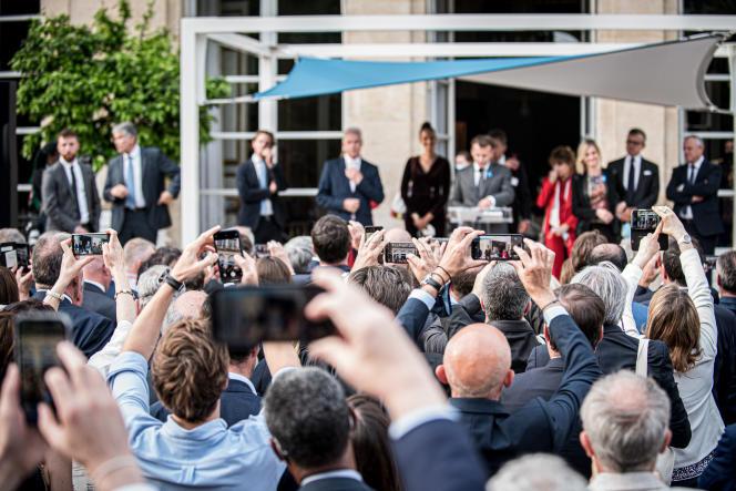 Emmanuel Macron lors de son discours d'inauguration de l'exposition du «Fabriqué en France », au Palais de l'Elysée, à Paris, le 2 juillet 2021.