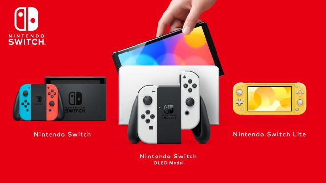 La Nintendo Switch modèle OLED est le quatrième modèle de la Switch. Le modèle originel (à gauche) ayant bénéficié d'une mise à jour en 2019.