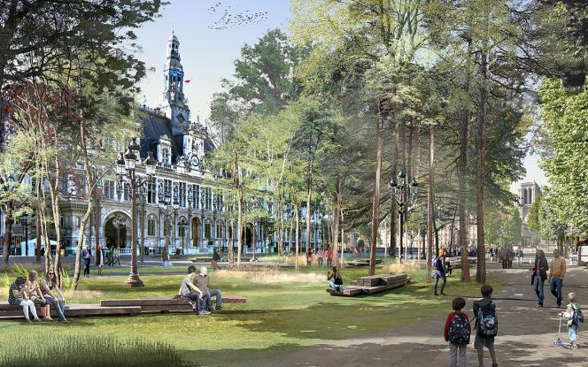 La forêt urbaine envisagée en 2019 place de l'Hôtel de ville, à Paris (vue d'artiste).